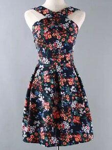 Colour Cross Strap Floral Flare Dress