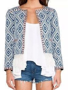 Blue Long Sleeve Geometric Print Tassel Crop Coat