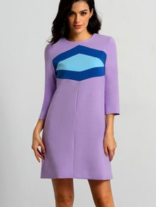Purple Round Neck Color Block Dress
