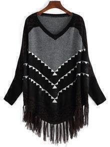 Black Geometric Print Tassel Sweater