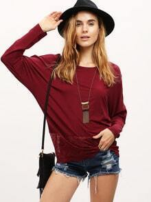 Burgundy Round Sleeve With Lace T-Shirt