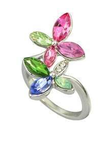 Beautiful Colorful Rhinestone Flower Rings