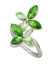 Beautiful Green Rhinestone Flower Rings