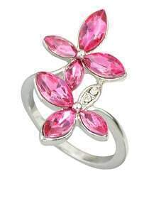 Beautiful Hotpink Rhinestone Flower Rings