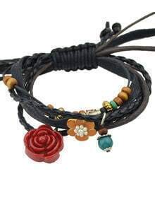 Adjustable Pu Leather Flower Braided Wrap Bracelet