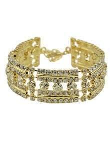 18K Gold Plated Rhinestone Wedding Bracelet Jewelry