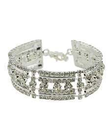 18K Silver Plated Rhinestone Wedding Bracelet Jewelry