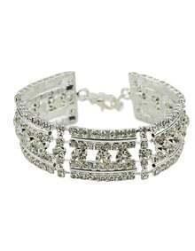 18K Silver Plated Rhinestone Wedding Bracelet Jewelry