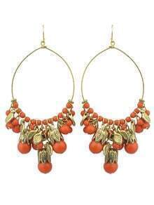 Orange Beads Chandelier Earrings Woman