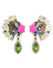 Colorful Stone Haning Stud Earrings Jewelry Fashion