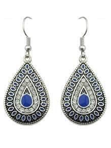 Blue Enamel and Rhinestone Drop Daily Wear Earrings
