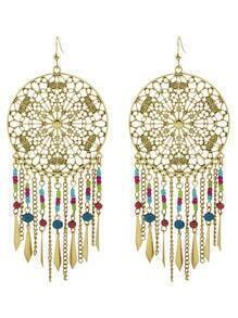 At-Gold Dream Catcher Design Beads Large Hanging Earrings Woman