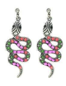 Cute Hotpink Stone Long Snake Shape Earrings