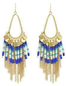Gold Plated Tassel Blue Small Beads Earrings