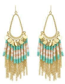 Gold Plated Tassel Green Small Beads Earrings