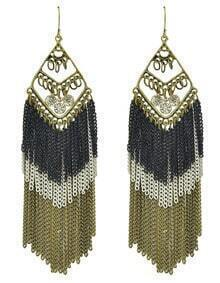 Long Black Enamel Tassel Earrings