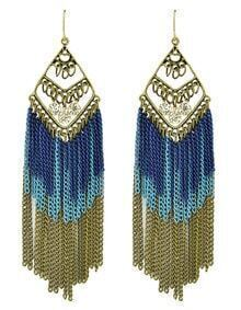 Long Blue Enamel Tassel Earrings