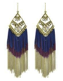 Long Purple Enamel Tassel Earrings