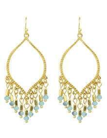 Gold Plated Hanging Beads Chandelier Earrings