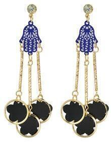 Black Enamel Flower Hanging Long Earrings Jewelry Fashion