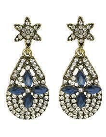 White Rhinestone Flower Drop Earrings Jewelry Fashion