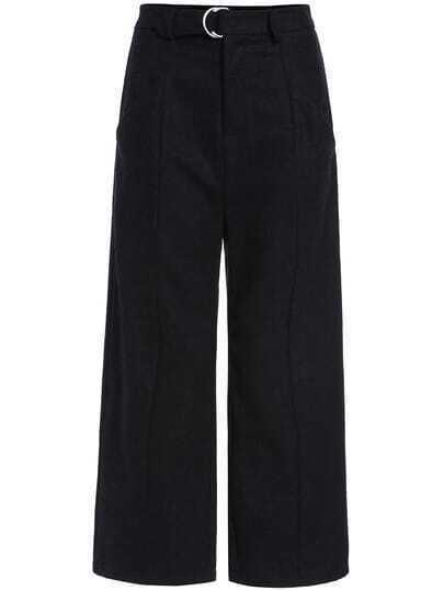 Black Wide Leg Woolen Pant