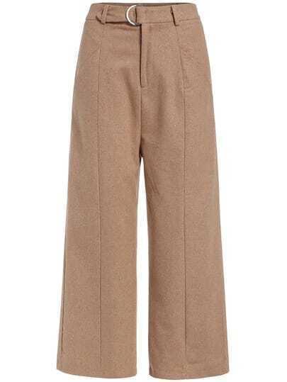 Khaki Wide Leg Woolen Pant