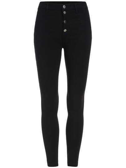 Black Skinny Buttons Elastic Pant