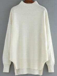White Mock Neck Dip Hem Loose Sweater