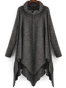 Dark Grey High Neck Asymmetrical Loose Knitwear