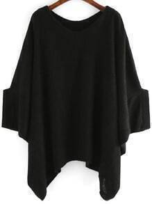 Black Round Neck Batwing Loose Sweater