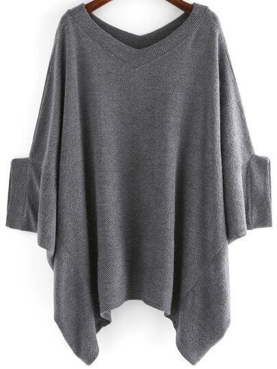 Grey Round Neck Batwing Loose Sweater