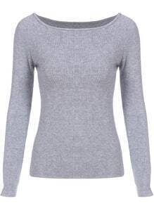 Grey Boat Neck Slim Crop Knitwear