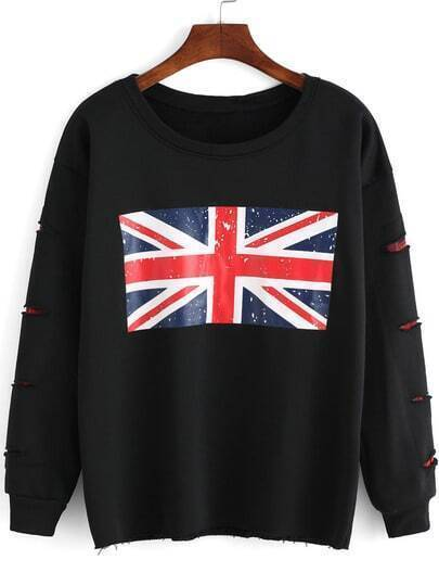 Black Round Neck Union Jack Print Ripped Sweatshirt