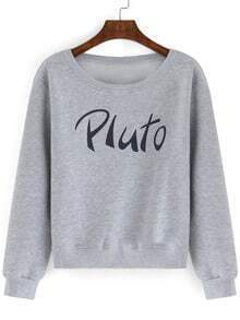 Grey Round Neck PLUTO Print Crop Sweatshirt