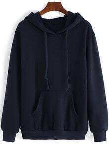 Blue Hooded Long Sleeve Pockets Casual Sweatshirt