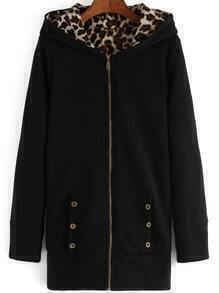Black Hooded Leopard Buttons Casual Sweatshirt