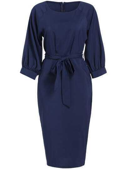 Navy Lantern Sleeve Tie-Waist Dress