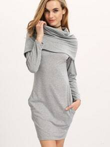 Grey Cowl Neck Long Sleeve Slim Dress