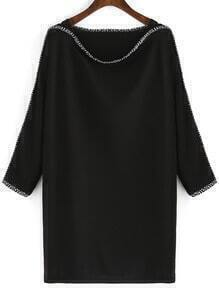 Black Boat Neck Contrast Trims Batwing Sleeve Dress