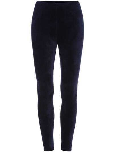 Navy Skinny Velvet Leggings