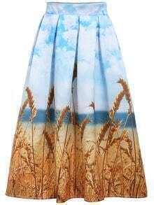 Blue Yellow Wheat Print Skirt