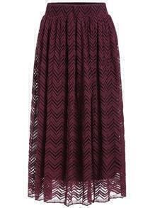 Red Herringbone Lace Skirt