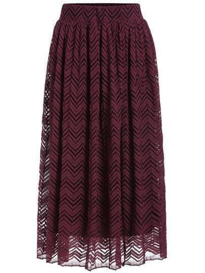 Red Herringbone Lace Skirt