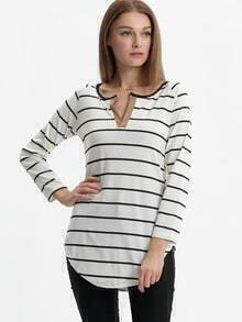 White Black Long Sleeve Striped Loose T-Shirt