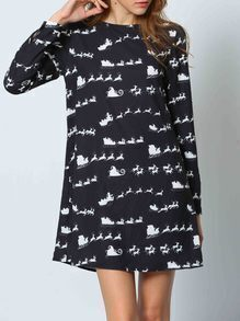 Black Long Sleeve Deer Print Dress