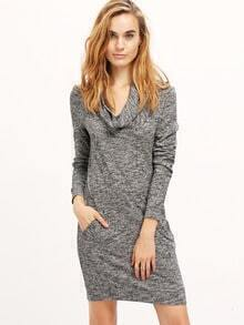 Grey Long Sleeve Cowl Neck Dress