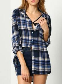 Blue Long Sleeve Lapel Plaid Blouse