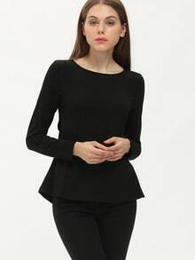 Black Long Sleeve Cut Out T-Shirt