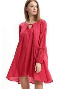 Red Long Sleeve With Lace Asymmetric Dress